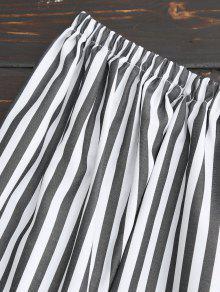 Blusa De De L Rayas Gargantilla De Hombro Raya qw451x