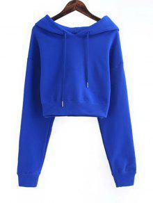 Drawstring Cropped Plain Hoodie - Blau M