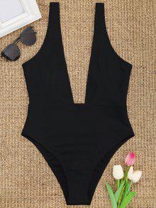 عالية قطع يغرق الرقبة ملابس السباحة - أسود Xl