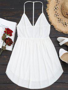 فستان مصغر كامي عارية الظهر - أبيض L