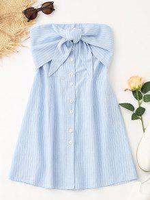 فستان مصغر بونوت مخطط - الضوء الأزرق L