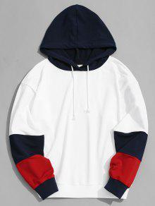 رجل اللون بلوك هوديي - أبيض M