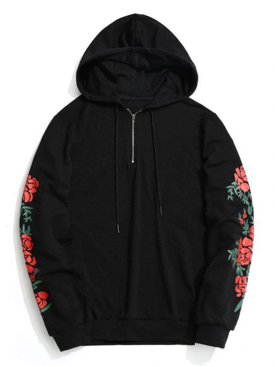 هوديي طباعة الأزهار بنصف السحاب - أسود L