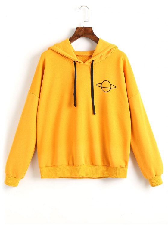 outfits ZAFUL Drawstring Loose Planet Hoodie - YELLOW M