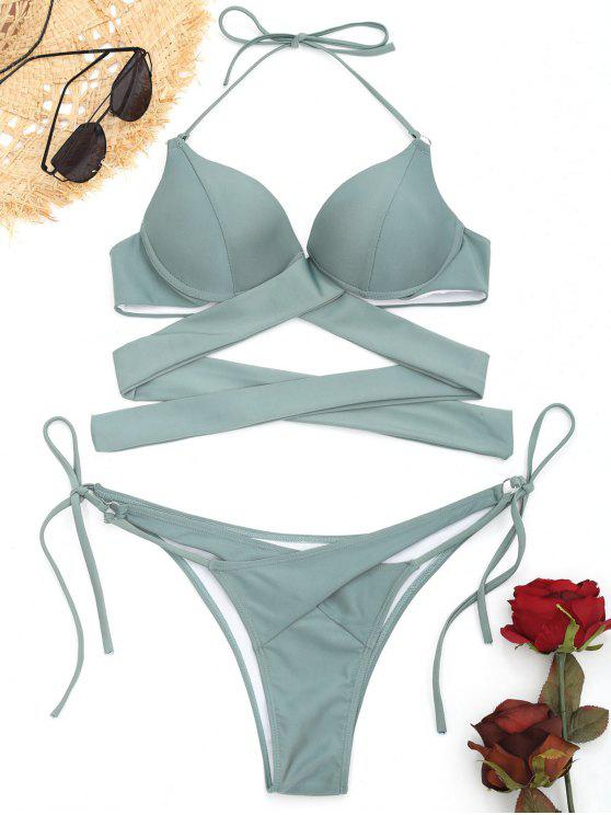 28449e323ddd7 26% OFF] 2019 Underwire String Wrap Bathing Suit In SAGE GREEN   ZAFUL