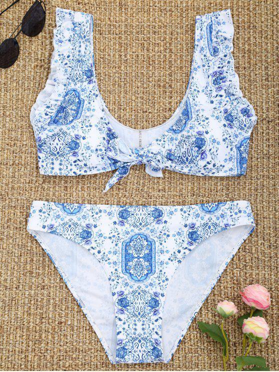 Conjunto de bikini floral atado con volantes - Azul y Blanco M