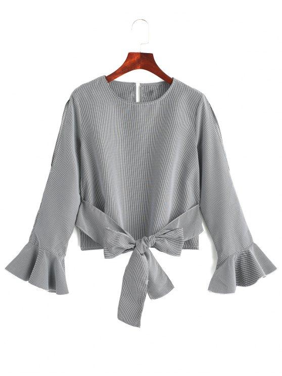 Blusa de manga vuelta con cuello vuelto - Raya XL
