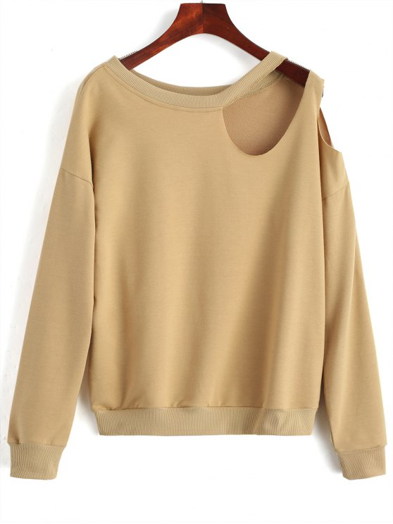 chic Casual Cut Out Sweatshirt - CAMEL XL