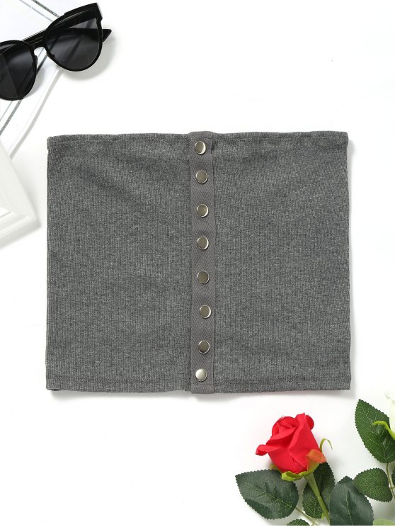 shops Knitted Snap Button Tube Top - DEEP GRAY M