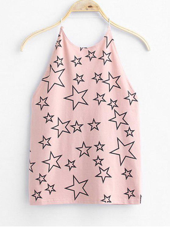 women Open Back Star Tank Top - PINK ONE SIZE