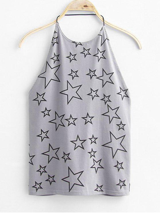 ladies Open Back Star Tank Top - GRAY ONE SIZE