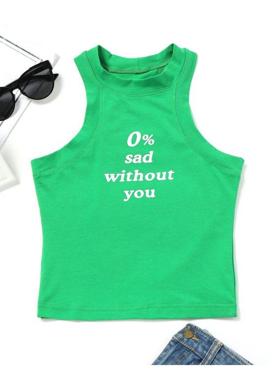 Camiseta con estampado de lema sin mangas - Verde M