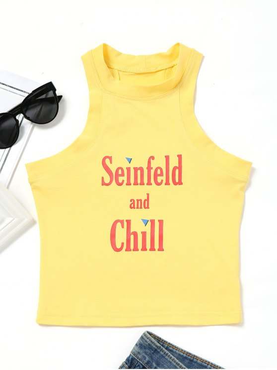 ladies Cotton Letter Logo Tank Top - YELLOW S