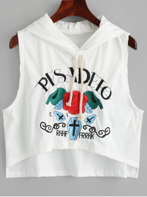 fashion High Low Embroidered Sleeveless Hoodie - WHITE ONE SIZE