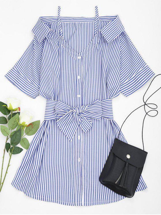 outfits Cold Shoulder Striped Belted Cami Dress - BLUE L
