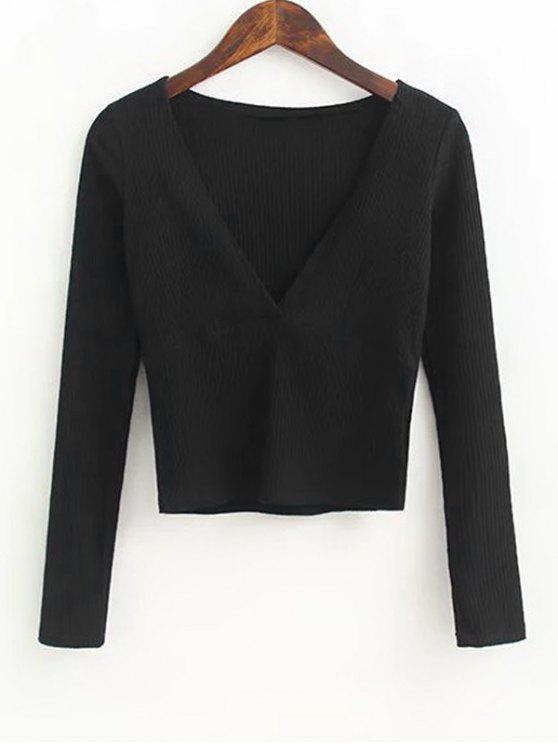 Top com nervuras tricotadas com pescoço - Preto M