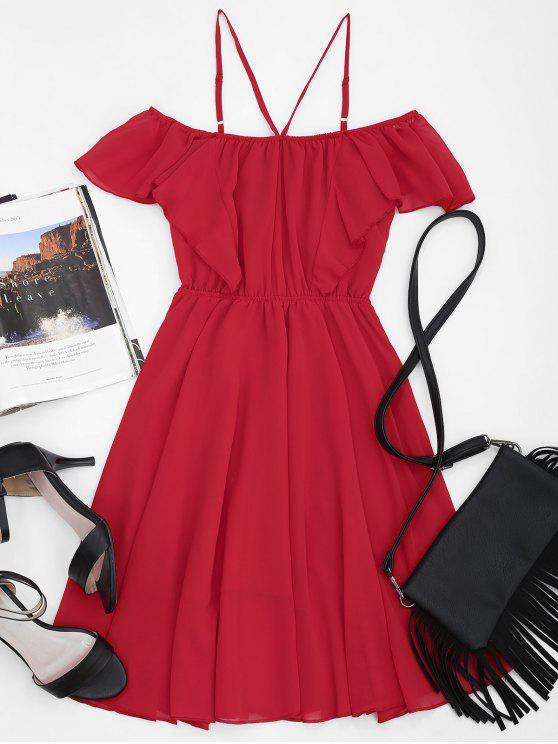 women Cold Shoulder Ruffles Cami Chiffon Dress - RED L