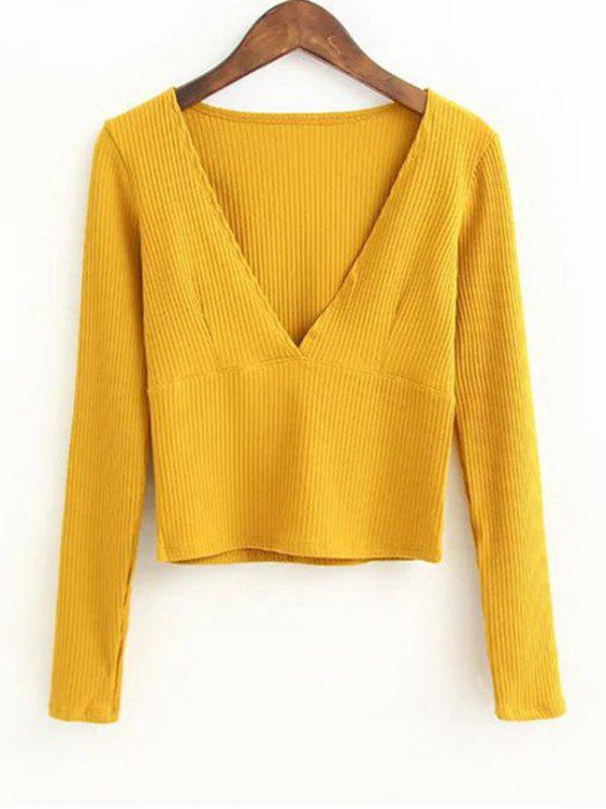 online V Neck Knitted Ribbed Top - YELLOW S