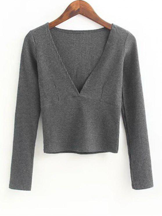 fashion V Neck Knitted Ribbed Top - DEEP GRAY M