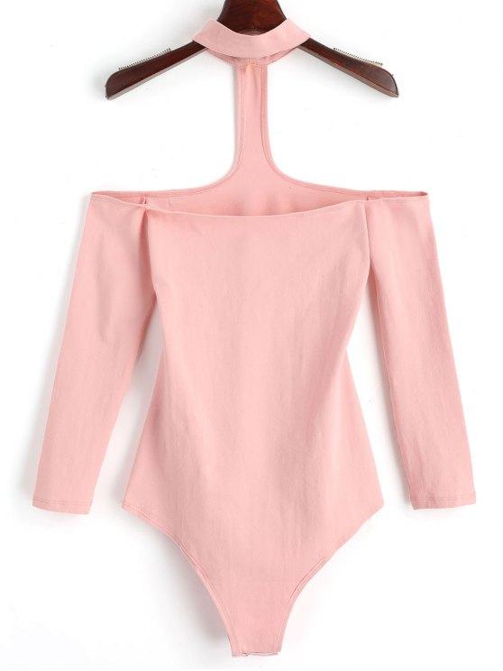 Druck Knopf Dünner Halsband Bodysuit - Rosa S