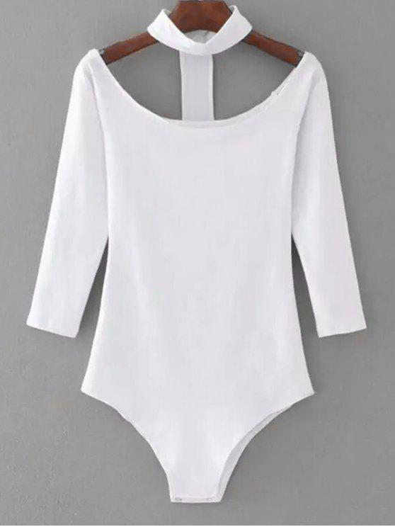 trendy Snap Button Skinny Choker Bodysuit - WHITE S