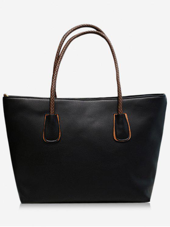 حقيبة كتف من الجلد الاصطناعي بمقبض مزدوج - أسود
