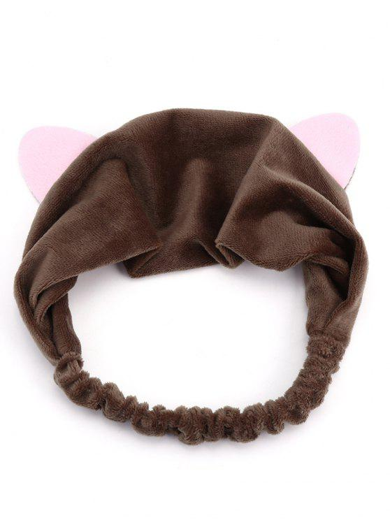 Cute Cat Ears Two Tone Elastic Hair Band - Marrom escuro