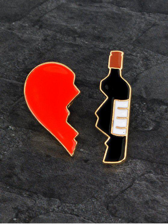 outfits Valentine's Day Broken Heart Winebottle Shape Brooch Set - COLORMIX