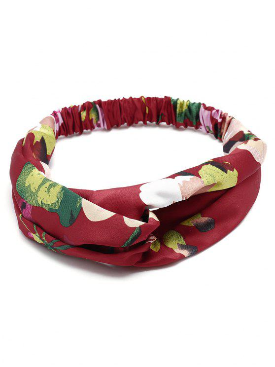 fancy Flower Print Multi Use Elastic Hair Band - WINE RED