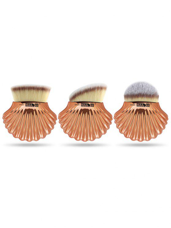 3Pcs Shell Shape Fiber Hair Makeup Foundation Brush Set - Cinza