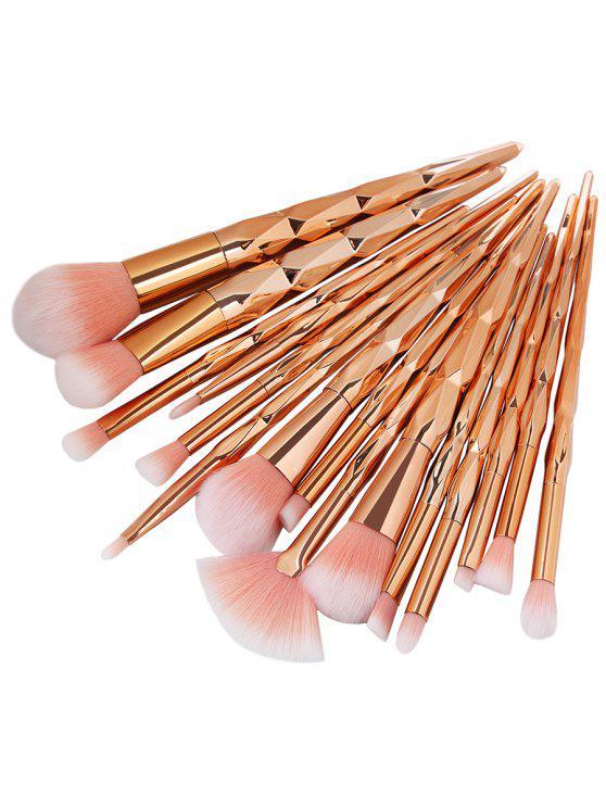 Set di pennelli per trucco per capelli ultra morbidi in fibra 15Pcs - oro rosa
