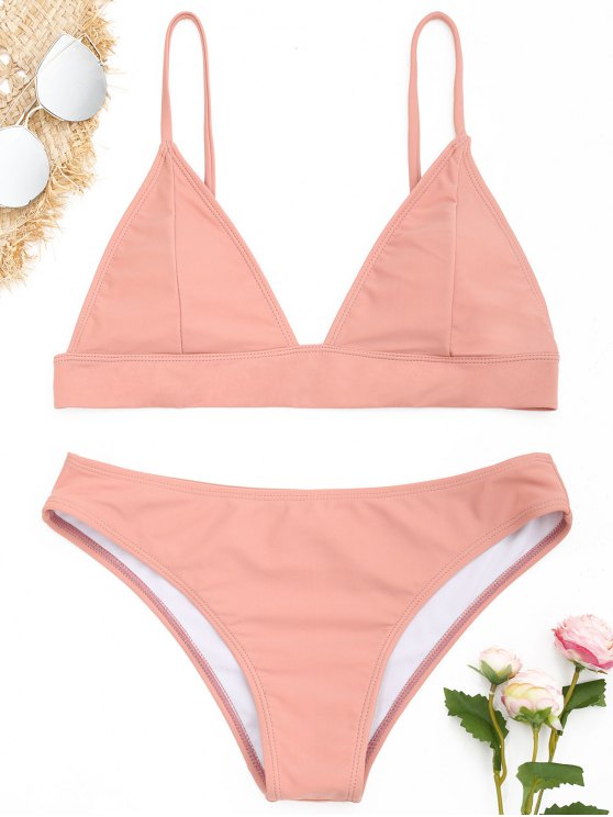 a7d7da05dab 23% OFF  2019 ZAFUL Padding Bikini Set In PINKBEIGE