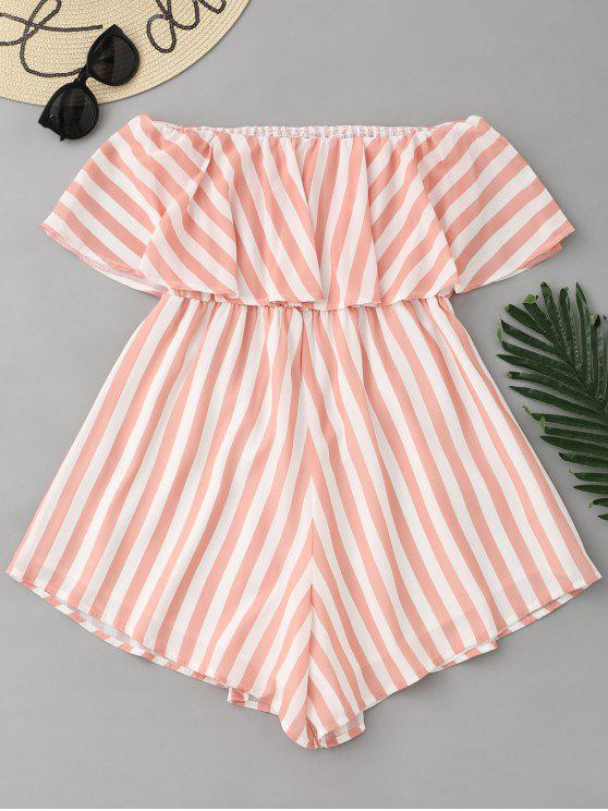 fancy Stripes Ruffle Off Shoulder Romper - STRIPE S