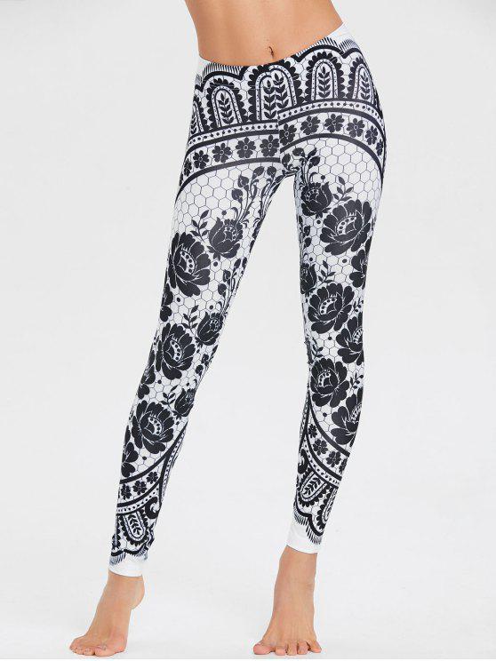 سروال ليقنز بطبعة أزهار - أسود M