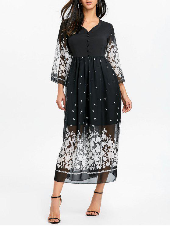 0476883e63b79 فستان من الشيفون مزين بطبعة أزهار - أسود S