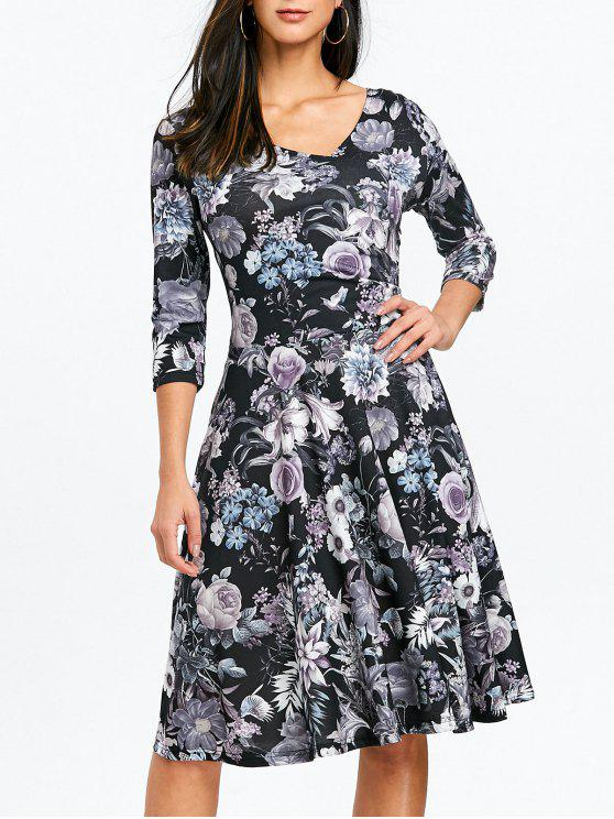 48abbfa198 2018 Surplice Floral Print Dress In GRAY 2XL