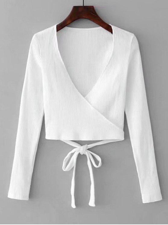 Top Tricotado de Enrolar Enfeitado - Branco S