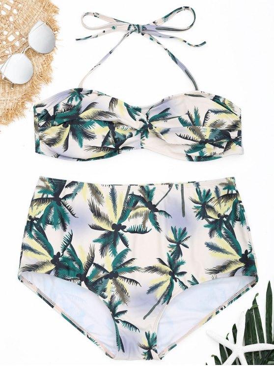 latest Plus Size Coconut Palm Bandeau Bikini Set - COLORMIX XL