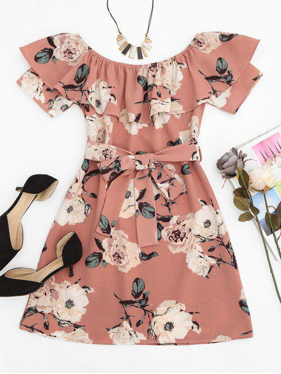 women Ruffle Floral Off Shoulder Mini Dress - PINK M