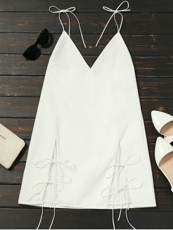 trendy Cut Out Tied Cami Trapeze Dress - WHITE S