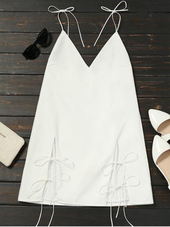 فستان كامي ذو فتحات ربطة - أبيض L