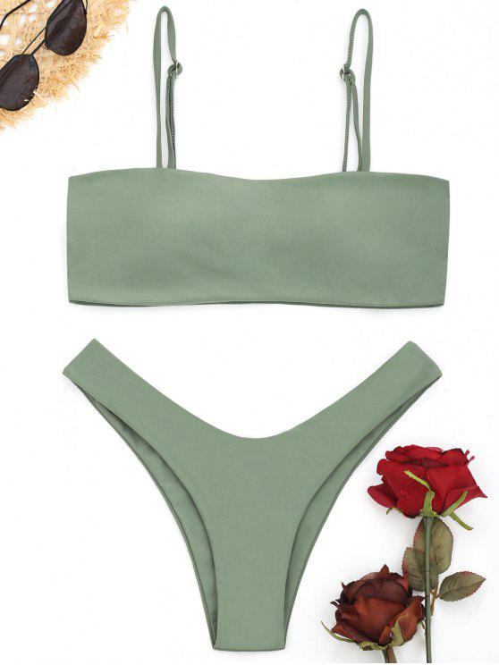 women High Cut Cami Bikini Set - PEA GREEN M