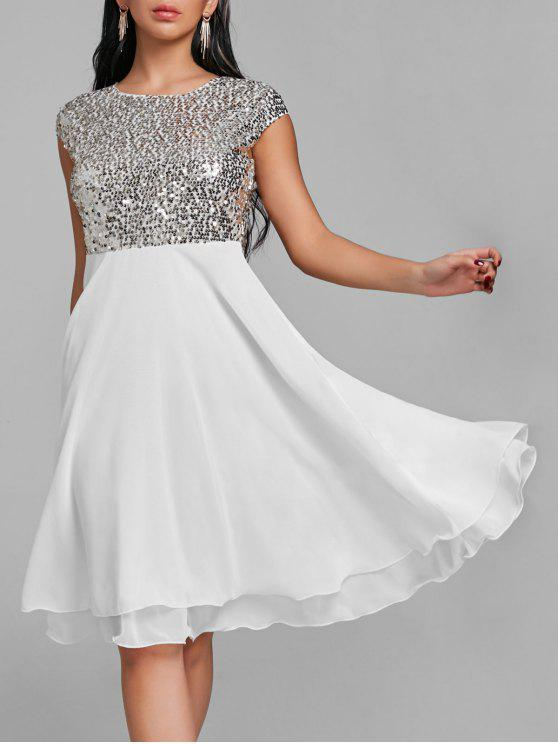 Glitter Sequin Flare Cocktail Dress - Branco XL