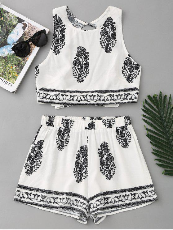 affordable Bow Tied Printed Open Back Top and Shorts Set - WHITE L