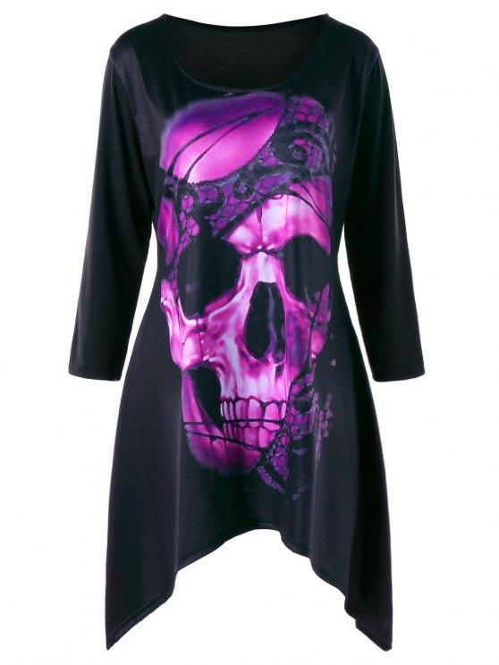 df54a805288 2018 Plus Size Skull Crescent Hem Tunic T-shirt In TUTTI FRUTTI 3XL ...