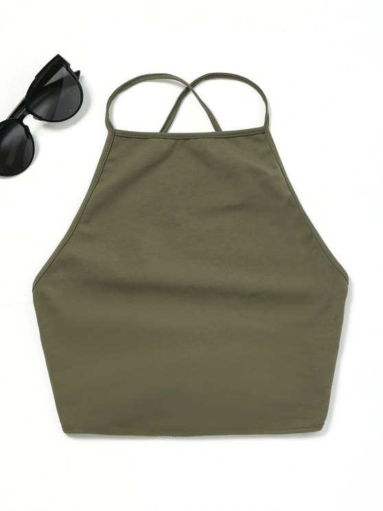 shop Open Back Lace Up Tank Top - ARMY GREEN ONE SIZE