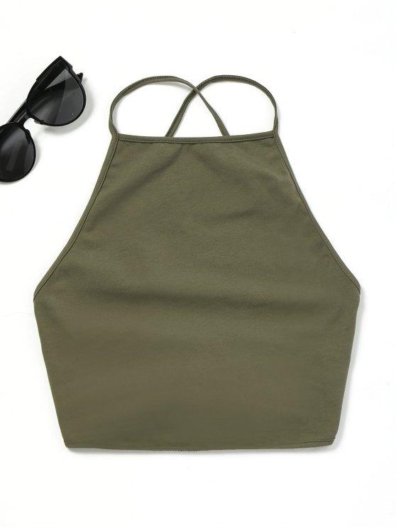 Débardeur à lacets à dos ouvert - Vert Armée Taille Unique