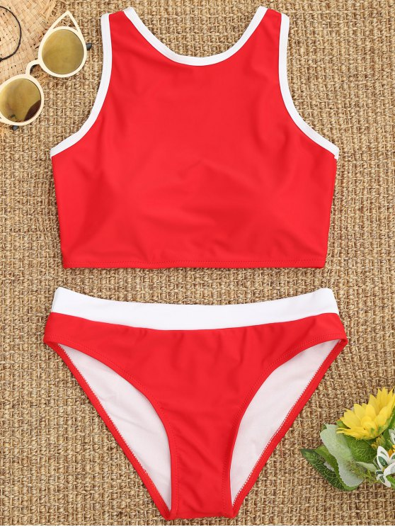 fancy Contrast Piping High Neck Sporty Bikini - RED M