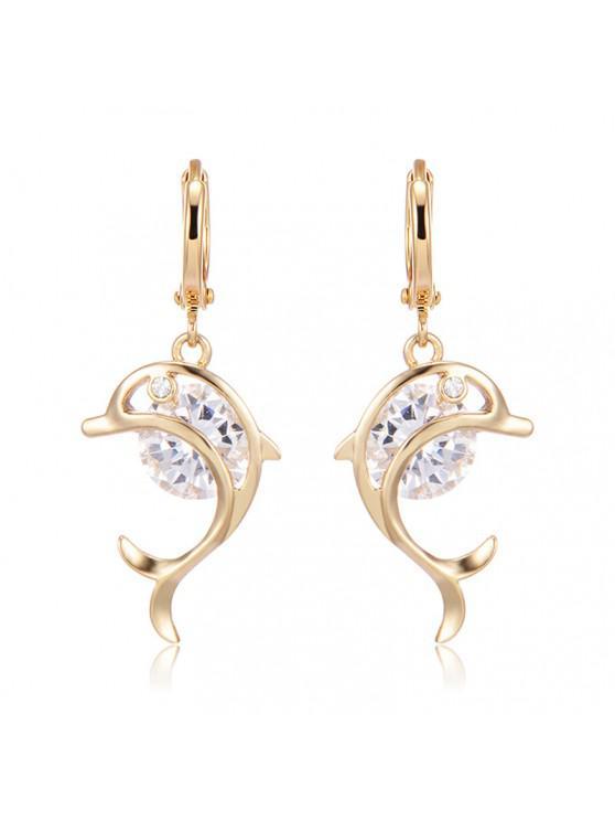trendy Rhinestone Dolphin Hoop Drop Earrings - GOLDEN