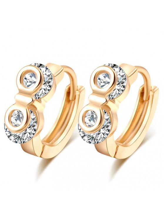 fashion Rhinestone Owl Eyes Hoop Earrings - GOLDEN